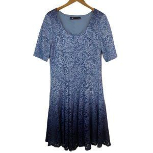 Leslie Fay Sparky Blue Lace Fit Flare Midi Dress